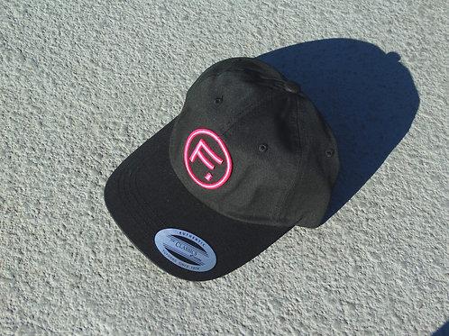 Cotton Twill Dad Hat - Black/Hot Pink