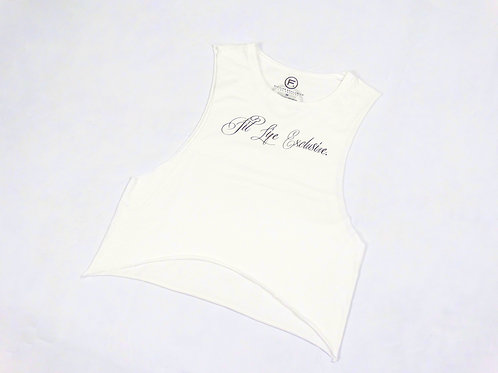 Women's Flowy Crop Muscle Tank - White