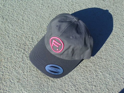 Cotton Twill Dad Hat - Titanium/Hot Pink