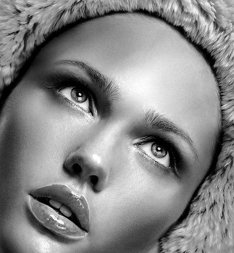 Model with Fur Hood