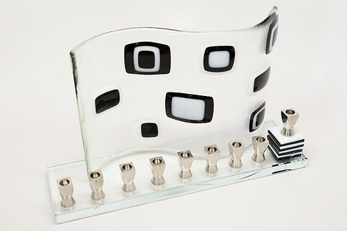 Black and white art deco menorah