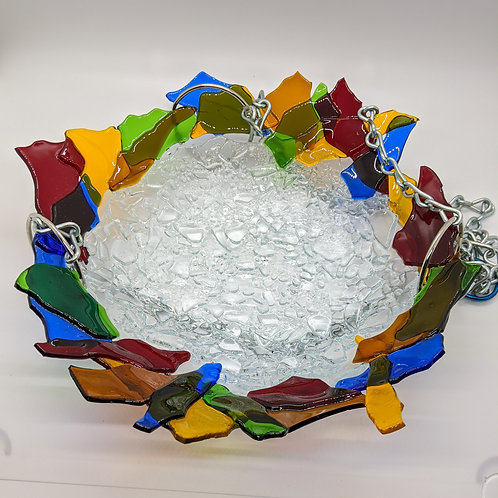 Multi colored fused glass bird feeder/bath