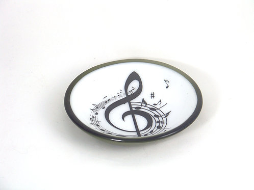 Dark green 5 inch bowl with music notes