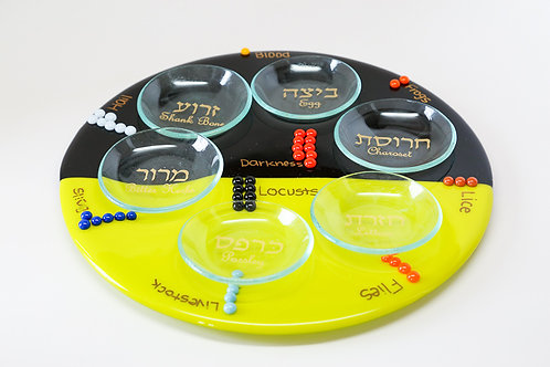 Plagues yellow and black seder plate