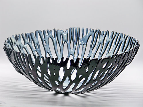 15 inch round Black and White Ocean Bowl
