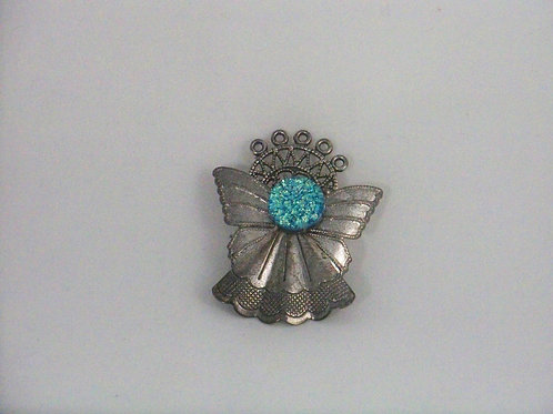 Teal dichroic face Guardian angel pin