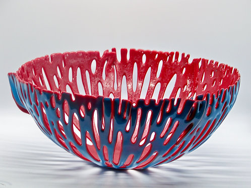 15 inch round Tomato Red and Cobalt Blue Ocean Bowl