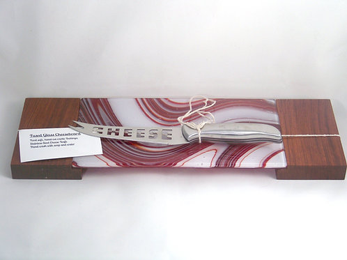 Red and white swirl glass with Bubinga wood