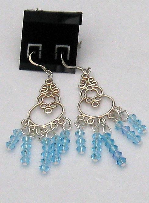 Blue crystal chandelier earrings hippy boho chic