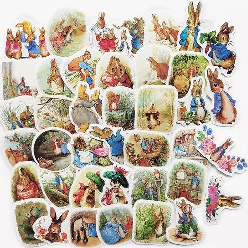 40 x bunny stickers