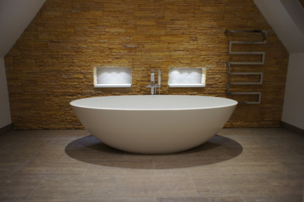 Freestanding stone composite bath, Littlestone PR1