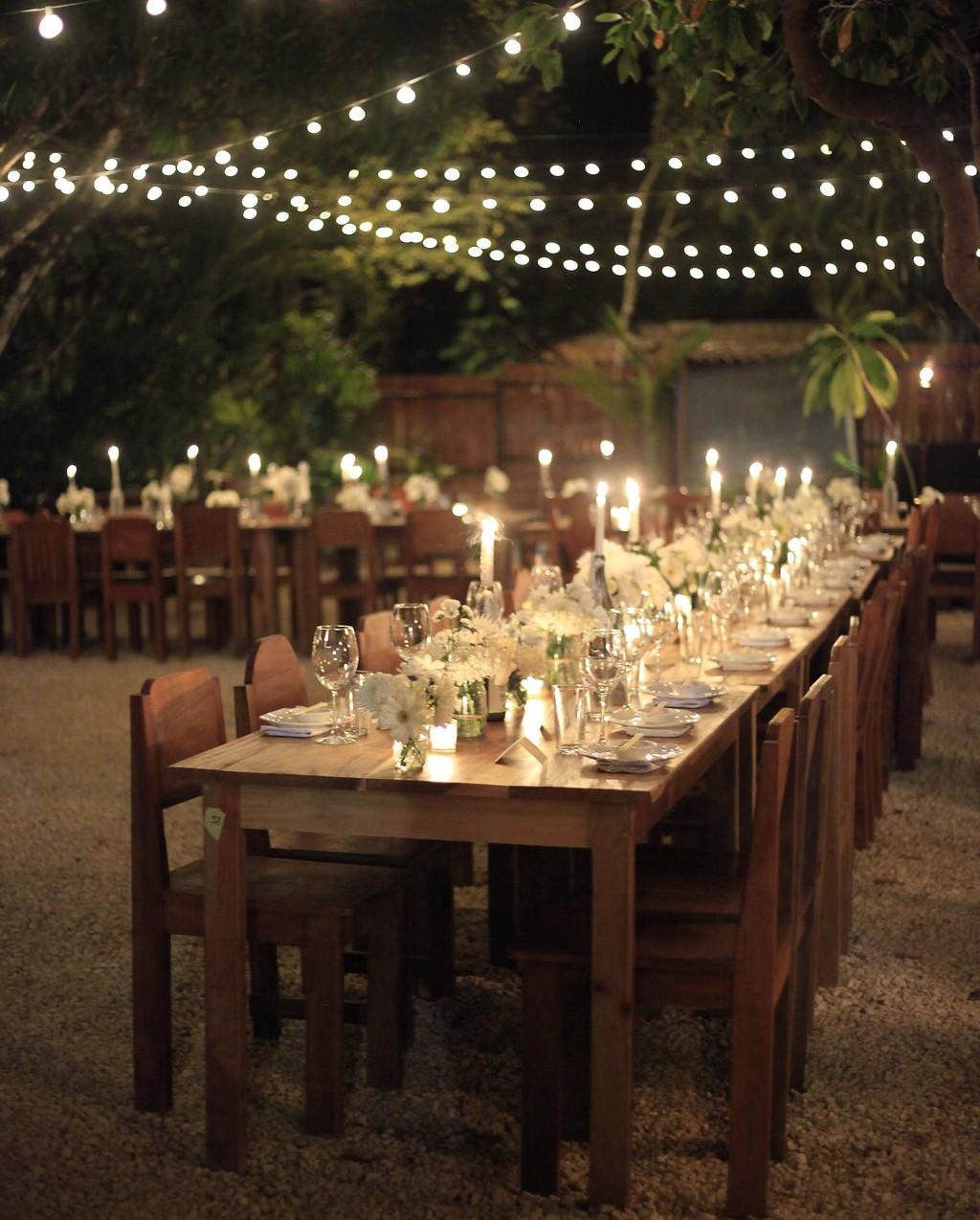 white wedding reception