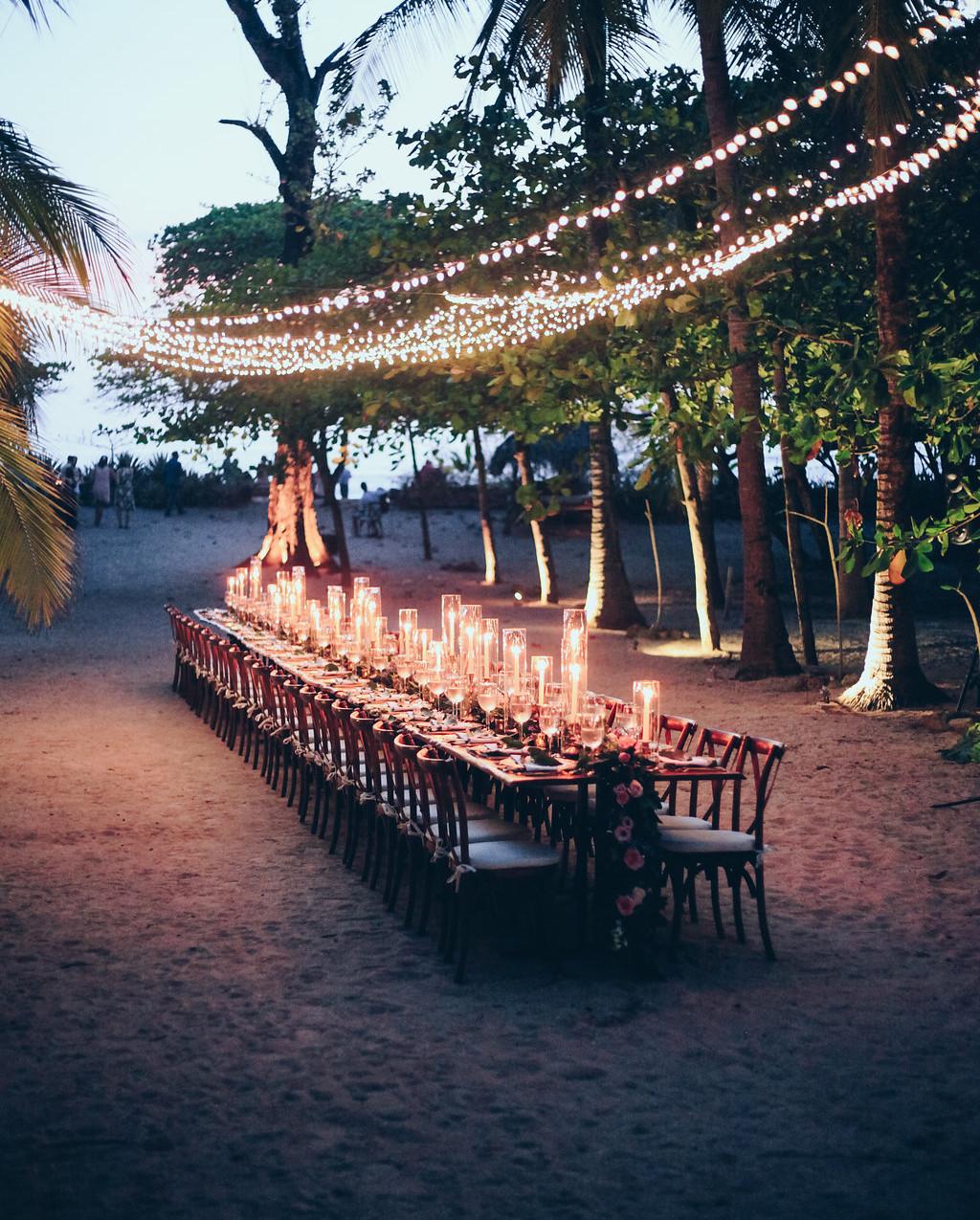 "alt=""wedding dinner table at night"""