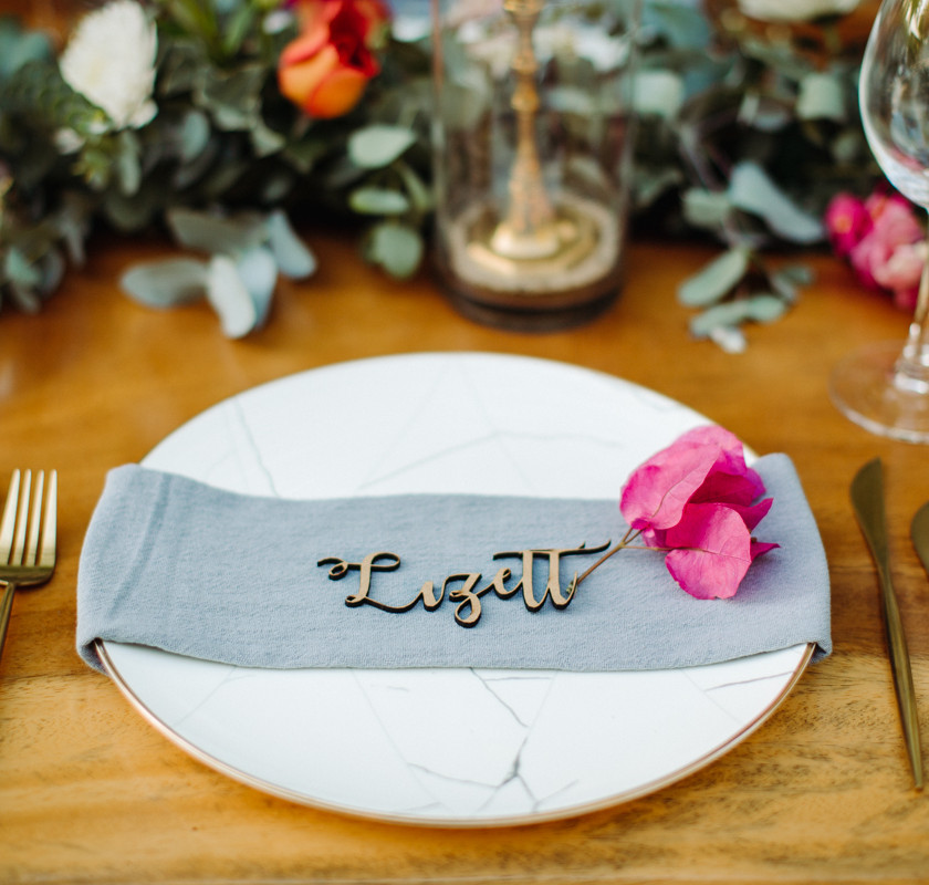 Lasercut name tags for wedding
