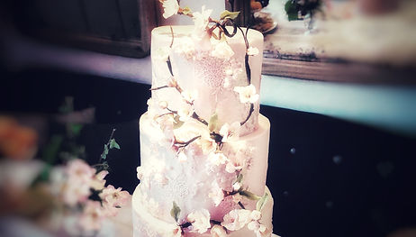 pink wedding cake with cherry blossoms made by Celebrity Cakes Ltd.