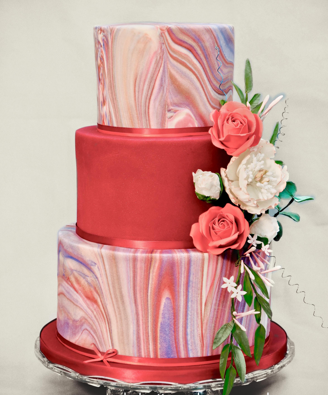 dramatic red wedding cake