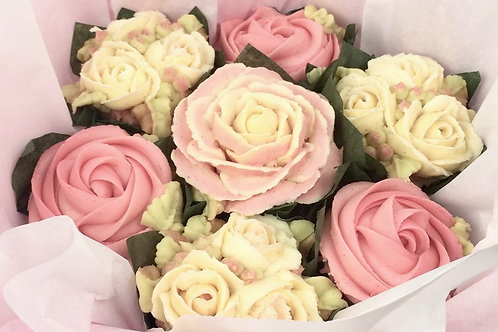 Pink and cream Cupcake Bouquet made by celebrity cakes