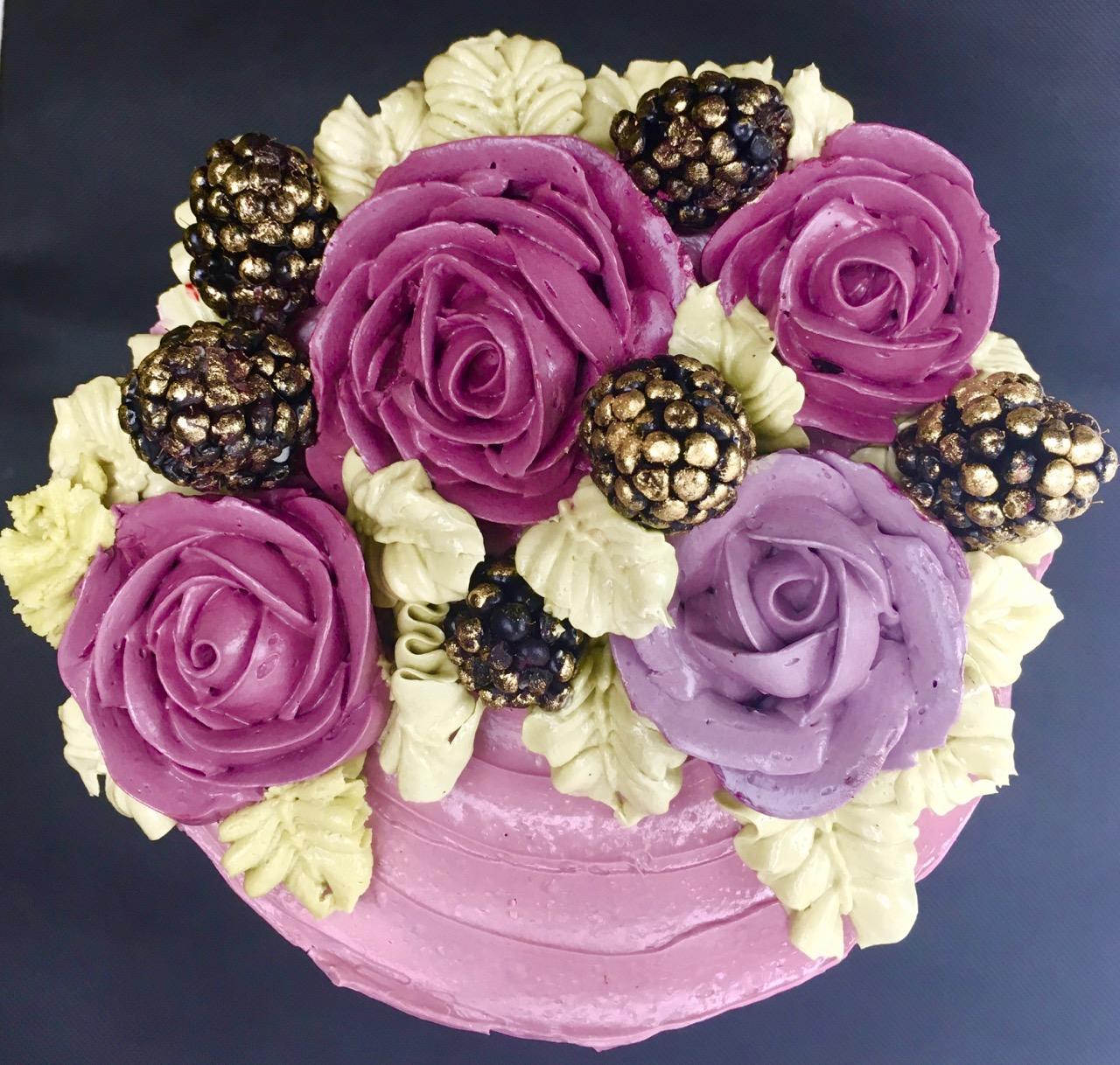 Buttercream flowers with blackberries ca