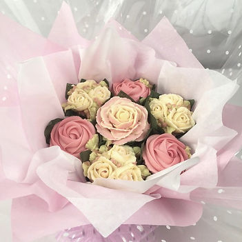 pink cupcake bouquet made by Celebritycakes.co.uk
