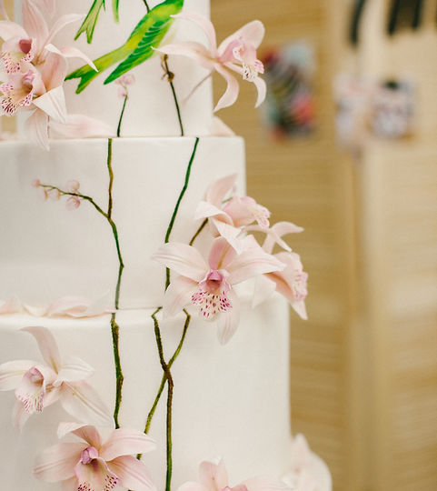 Pink wedding cake with hand painted birds .jpgnd sugar orchids