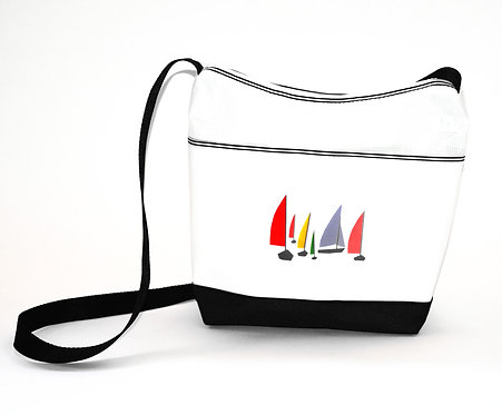 Crossbody Purse w/Multi Color Sail Print