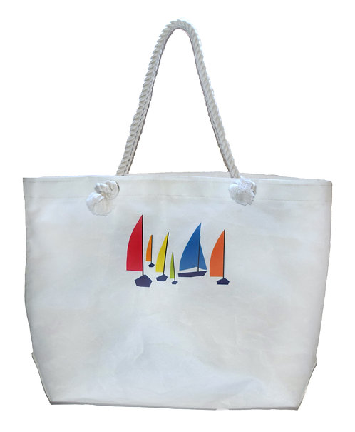 Multi Color Sailboat Print Tote