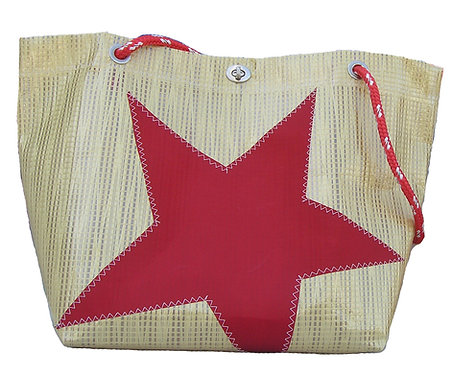 Gold Mylar Red Star Tote