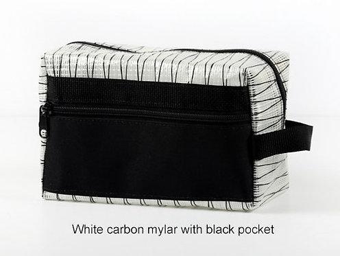 White Carbon Mylar w/ Black Pocket Dopp Kit