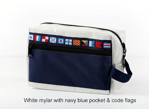 White Mylar w/ Navy Blue Pockets & Code Flags Dopp Kit