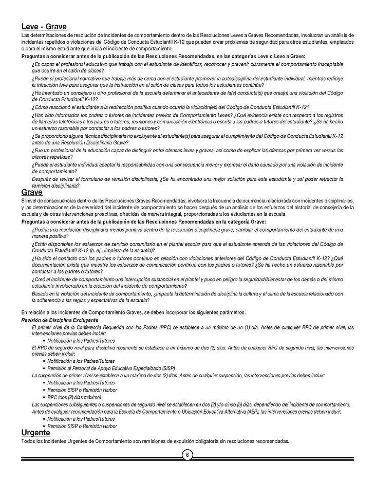 K-12 Student Code of Conduct.776.1 Spani