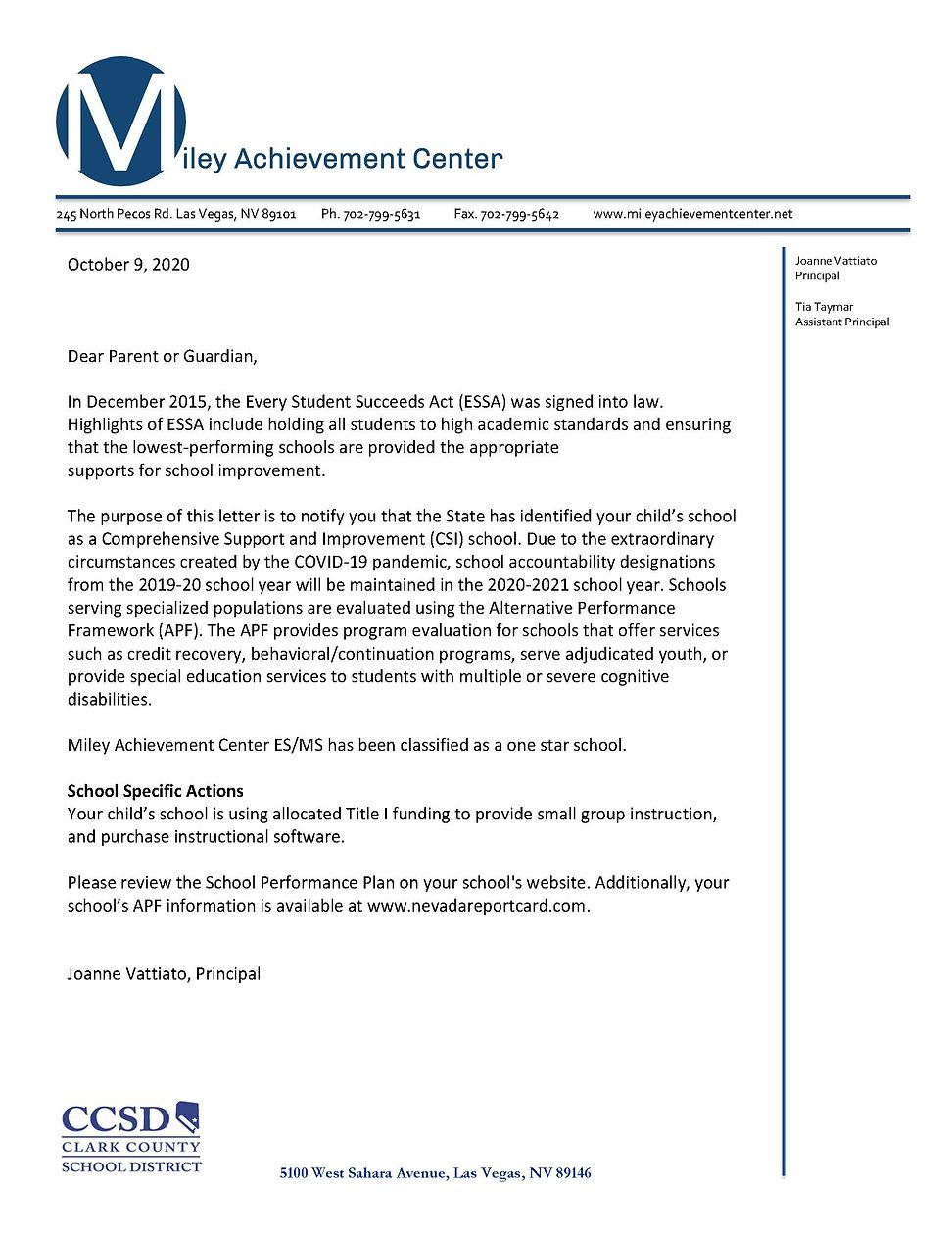 Miley AC ES.MS Parent Notification Lette