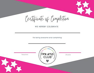 Kids Fine Arts Club Certificate - Blank.