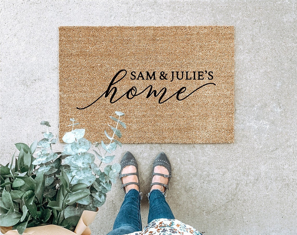Custom Last Name Door Mat by Black Butterfly Signs on Etsy Unique Wedding Gifts on Unmeasured Events