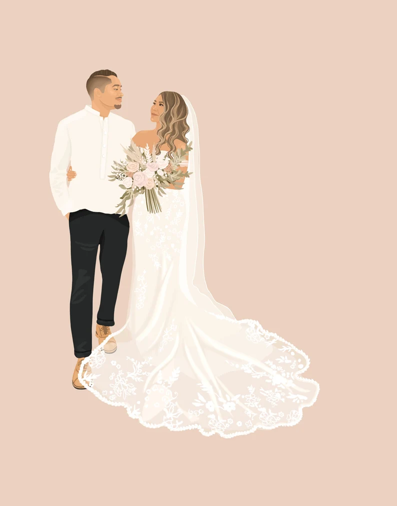 Digital Wedding Illustration by Illustrations Nicole on Etsy unique wedding gifts by unmeasured events