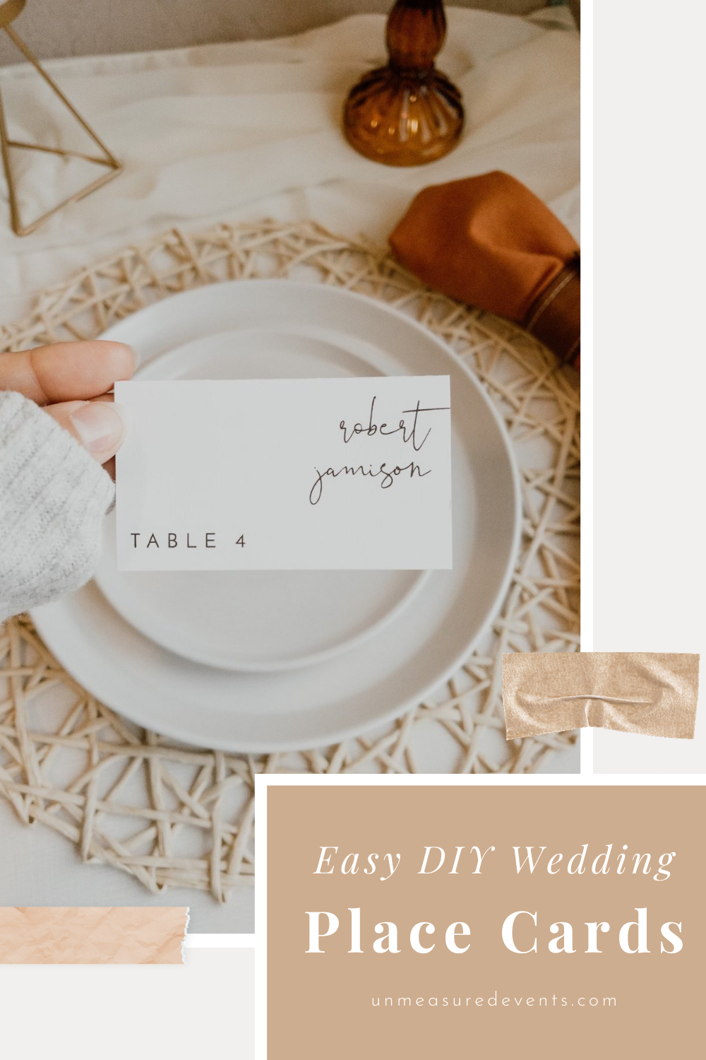 Easy DIY wedding place cards for the budge bride by Unmeasured Events