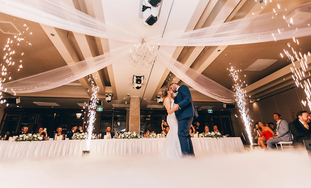 Newlywed couple dancing to their first song as husband and wife