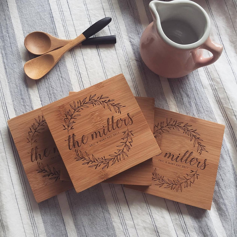 Unique gifts for newlyweds custom last name bamboo wooden coasters from Wood and Mine on Etsy