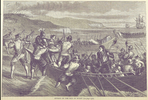 1545 Battle of Bonchurch, from the book 'British Battles on Land and Sea, 1873. The scene depicts the French landing. Possibly Monks Bay?