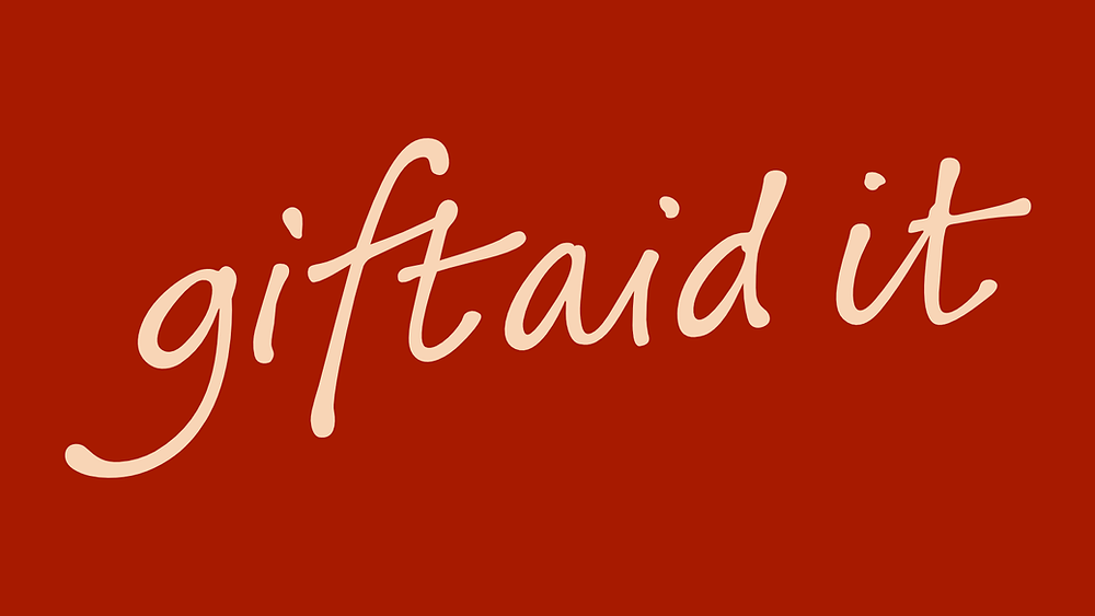 "The Gift Aid logo, reading ""Gift Aid It""."