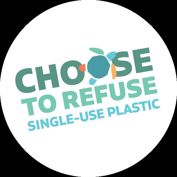 "Logo reading ""Choose to Refuse Single-Use Plastic"""