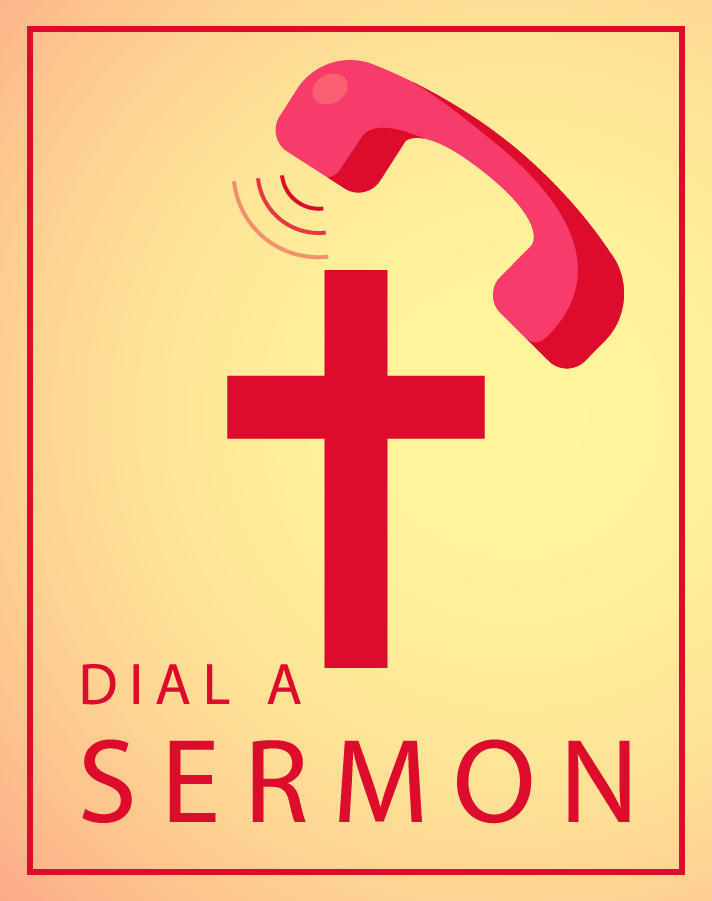 Logo for the Dial a Sermon service, showing a phone handset above a cross.