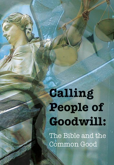 Cover image of the Calling People of Goodwill booklet, featuring a drawing of a statue holding a pair of old-fashioned balancing scales.