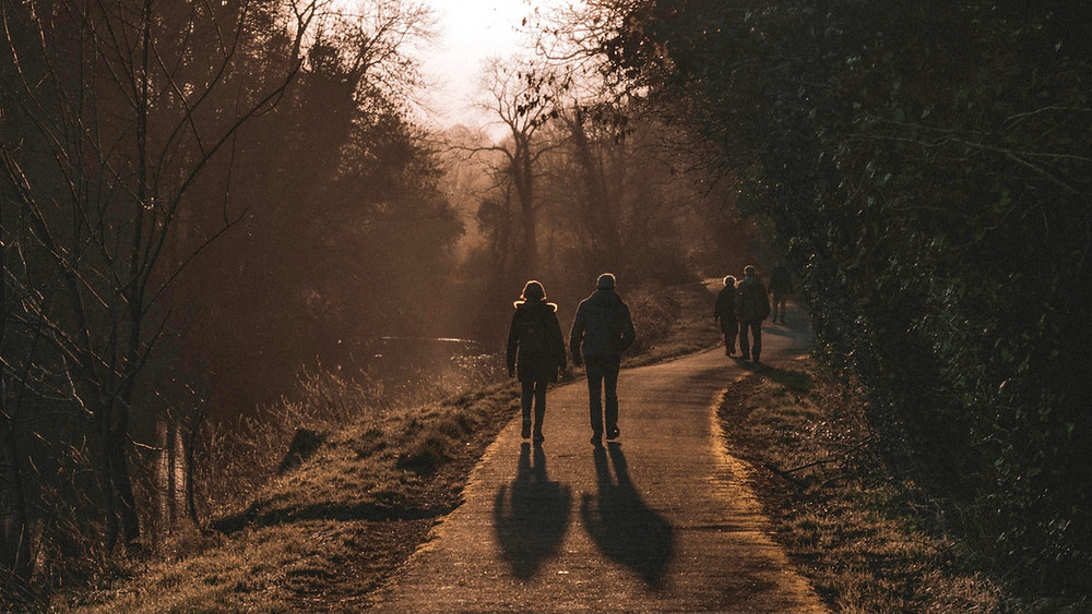 Two people in the mid-distance walk away along a footpath lined by tree in the winter evening sunlight.