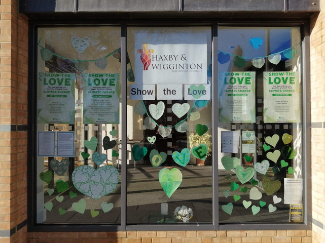 The HWMC Porch, with Green Hearts from the Show the Love campaign