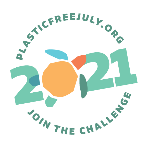 Logo of Plastic Free July 2021 inviting people to join the challenge of reducing their use of plastics in July.