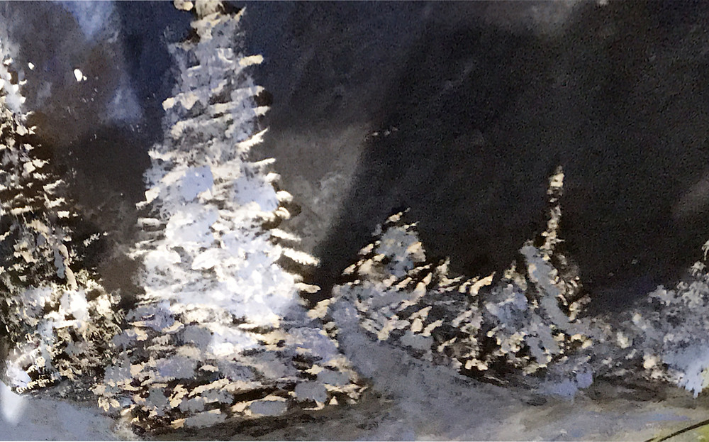 Painting of a snow-covered woodland scene at night