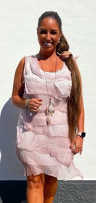 Silke kjole med layer - rosa