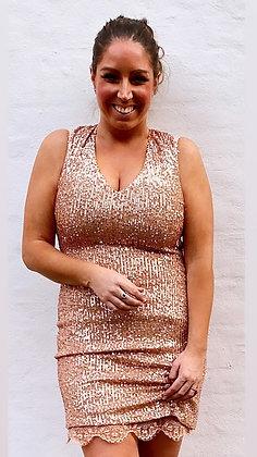 Divaz paliet kjole i rosegold