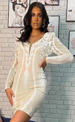 Soya dress m. palietter - hvid