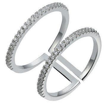 Aura - Dobbelt ring med sten - sølv